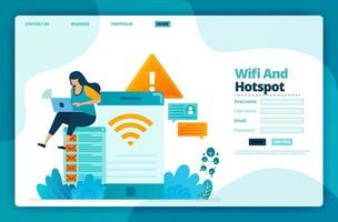 Landing page vector design of wifi and hotspot. Design for website, web, banner, mobile apps, poster, brochure, template, billboard, welcome page, promotion, cover, business card, advertisement