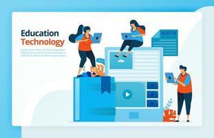 ilustración vectorial de personas con educación en tecnología moderna. estudiar con un teléfono inteligente o tableta. diseño para páginas de destino, web, sitio web, página web, aplicaciones móviles, banner, flyer, folleto, cartel vector