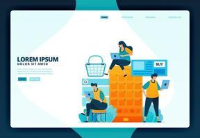 Ilustración de dibujos animados de compras con aplicaciones móviles. diseño vectorial para la página de destino sitio web banner web aplicaciones móviles cartel