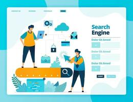 Landing page vector design of search engine analysis. Design for website, web, banner, mobile apps, poster, brochure, template, billboard, welcome page, promotion, cover, business card, advertisement