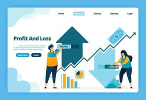 Landing page of profit and loss. Up and down in taking capital gains investment in financial markets. Illustration of landing page, website, mobile apps, poster, flyer