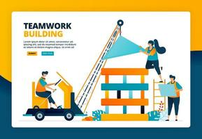 Cartoon illustration of worker building a construction. Planning and strategy in teamwork and collaboration. Human development. Vector design for landing page website web banner mobile apps poster