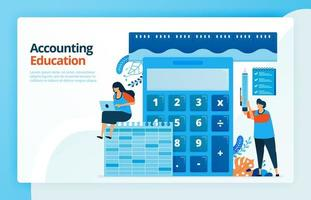 Vector illustration of activities from accounting and measurement education. Calculator for calculation. Ruler to measure finances. Bookkeeping learning. Designed for landing pages, web, mobile apps