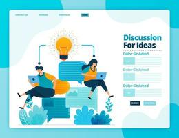 Landing page vector design of discussion for ideas. Design for website, web, banner, mobile apps, poster, brochure, template, billboard, welcome page, promotion, cover, business card, advertisement