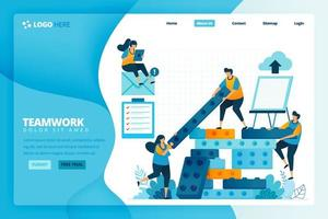 Cartoon illustration of strategy and planning in constructing the beam. Human development in teamwork, collaboration and build. Vector design for landing page website web banner mobile apps poster