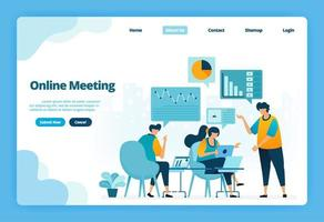 Landing page of online meeting. Business meetings and conferences for marketing strategy planning. Illustration of landing page, website, mobile apps, poster, flyer