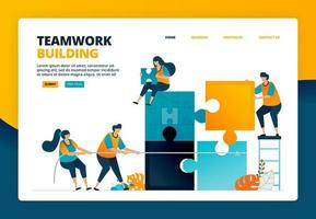 Cartoon illustration of completing puzzle games to train teamwork and collaboration in organization. Problem solving game for team. Vector design for landing page website web banner mobile apps poster