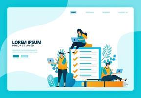 Cartoon illustration of surveys and examinations. Vector design for landing page website web banner mobile apps poster