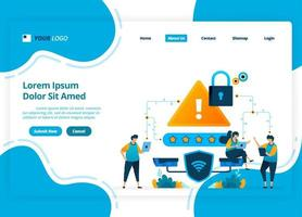 Vector landing page design of WiFi network security. protection rating on internet security networks. Illustration of landing page, website, mobile apps, poster, flyer