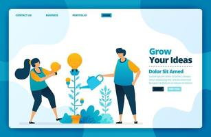 Landing page vector design of growing your idea. Design for website, web, banner, mobile apps, poster, brochure, template, billboard, welcome page, promotion, cover, business card, advertisement
