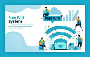 Vector illustration of landing page of free wifi system for a cheaper and more efficient internet connection. Design for website, web, banner, mobile apps, poster, brochure, template, ads, homepage