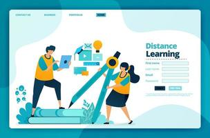 Landing page vector design of distance learning. Design for website, web, banner, mobile apps, poster, brochure, template, billboard, welcome page, promotion, cover, business card, advertisement