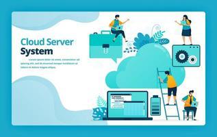 ilustración vectorial de la página de destino del sistema de servidor en la nube y alojamiento para organizar, simplificar y almacenar el trabajo en línea. diseño para sitio web, web, banner, aplicaciones móviles, cartel, folleto, plantilla, anuncios vector