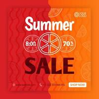 Summer sale social media post template. Promotional posters for summer. Can be used for online media, brochure, flyer, card, wall advertisement, poster, website media promotion, billboard, apps ads vector