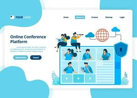 vector landing page design of online video conference. business meetings and discussions. illustration of landing page, website, mobile apps, poster, flyer