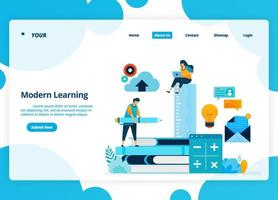 Vector landing page design of modern learning. Distance education technology during quarantine. Illustration of landing page, website, mobile apps, poster, flyer