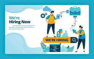 Vector illustration of landing page of hiring the best workers and employees with job promotions and ads in search engines. Design for website, web, banner, mobile apps, poster, brochure, template