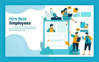 Vector illustration of landing page of hire best employees with exams and questionnaires to measure capacity and abilities. Design for website, web, banner, mobile apps, poster, brochure, template