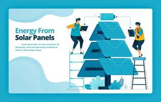 Vector illustration of landing page of alternative energy with solar panel electric distribution technology for battery charging. Design for website, banner, mobile apps, poster, brochure, template