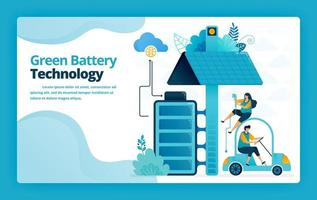 Vector illustration of landing page of battery charging stations for mobile and electric cars with solar panel technology. Design for website, web, banner, mobile apps, poster, brochure, template