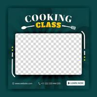 Cooking class for social media posts and ads templates. Ads for online courses. Can be used for online media, brochure, flyer, wall advertisement, poster, website media promotion, billboard, apps ads vector