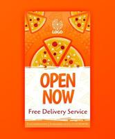 poster template of fast pizza free delivery for social media stories post and ads banner