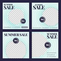social media post for summer sale in June. new normal sale in summer season ads and promotions. social media marketing during a pandemic. the design can be used for website, post, stories and feed vector