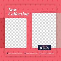 Collection and offer of new fashions in social media post. Can be used for website ads, landing page, media brochure, business poster, online media promo, print banner, apps, store and retail vector