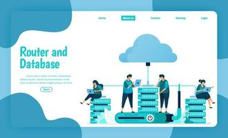 Landing page template of router and database service. Wifi network and infrastructure for internet connection and safe access. Illustration of landing page, website, mobile apps, poster, flyer vector