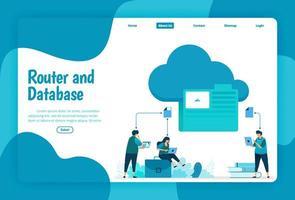 plantilla de página de destino del servicio de almacenamiento en la nube y carpetas. organizar archivos de red y conexiones en la nube para trabajar en la base de datos. Ilustración de página de destino, sitio web, aplicaciones móviles, póster, folleto. vector
