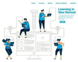 New normal learning for students in the pvidemic covid 19. Utilizing technology and internet connection for learning. Illustration design of landing page, website, mobile apps, poster, flyer, banner vector
