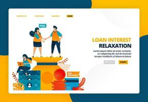 Cartoon illustration of shaking hands in payment suspension agreement in crisis. Loan relaxation and installment interest cuts. Vector design for landing page website web banner mobile apps poster