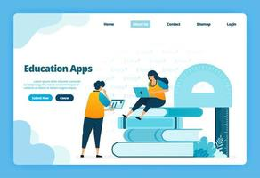 Landing page of education apps. Modern distance learning with virtual internet courses. Illustration of landing page, website, mobile apps, poster, flyer