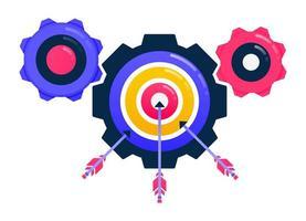 alcanzar metas, objetivos comerciales, flechas y dardos, motivación empresarial, mecanismo industrial y equipo. vector