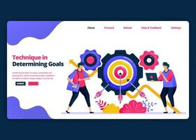 Vector cartoon banner template for technical and how to determine target growth. Landing page and website creative design templates for business. Can be used for web, mobile apps, posters, flyers