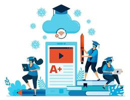 Vector illustration of new normal education and learning with mobile apps and e-classroom. Design can be used for landing page, website, mobile app, poster, flyers, banner