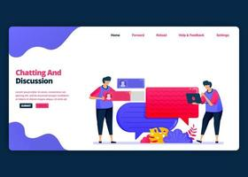 Vector cartoon banner template for chat and discussion with friends and colleagues. Landing page and website creative design templates for business. Can be used for web, mobile apps, posters, flyers