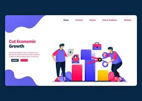 Vector cartoon banner template for cutting economic growth and GDP during the crisis. Landing page and website creative design templates for business. Can be used for web, mobile apps, posters, flyers