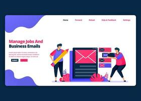 Vector cartoon banner template for managing work and business e-mail effectively. Landing page and website creative design templates for business. Can be used for web, mobile apps, posters, flyers