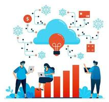 Vector illustration of working during covid 19 pandemic with cloud computing. New normal financial security network. Design can be used for landing page, website, mobile app, poster, flyers, banner