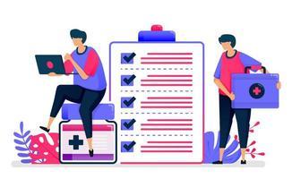Ilustración de vector plano de chequeo médico para registros de pacientes. servicios de primeros auxilios para instalaciones públicas. diseño para la salud. se puede utilizar para páginas de destino, sitios web, web, aplicaciones móviles, carteles, folletos