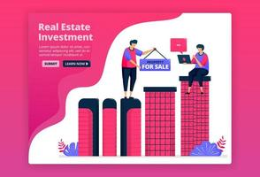 Vector illustration of investing by buying urban property, real estate or apartments. Increase wealth by purchasing property.  Can be used for landing page, website, web, mobile apps, posters, flyers