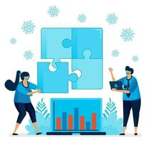 Vector illustration of solving problem in business when covid-19 pandemic. Puzzle game to teamwork and leadership. Design can be used for landing page, website, mobile app, poster, flyers, banner