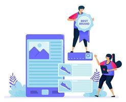 ilustración vectorial para buscar reseñas de productos para compras en la tienda en línea. buscando la mejor marca en las reseñas de los compradores. se puede utilizar para páginas de destino, sitios web, web, aplicaciones móviles, carteles, folletos vector