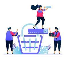ilustración vectorial para la búsqueda de carrito de compras de productos en línea. comercio electrónico y pago en el mercado. se puede utilizar para páginas de destino, sitios web, web, aplicaciones móviles, carteles, folletos vector