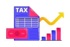 diseño para aumentar los ingresos económicos y fiscales, la presentación de informes fiscales y los ingresos financieros. También se puede utilizar para negocios, diseño de iconos y elementos gráficos. vector