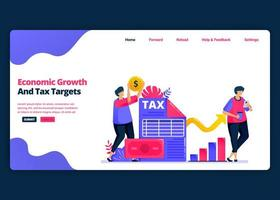 Vector cartoon banner template for achieve economic growth and annual tax targets. Landing page and website creative design templates for business. Can be used for web, mobile apps, posters, flyers