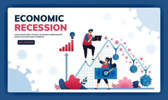 Landing page vector illustration of failure and negative economic growth due to covid-19 or corona virus. Depression, inflation and corporate bankruptcy due to pandemic.  Web, website, banner, apps