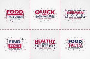 libro de cocina rojo para revistas de recetas y comida. títulos de menú de restaurante o insignias para tiendas de alimentos y restaurantes. diseño minimalista para pancartas de recetas.