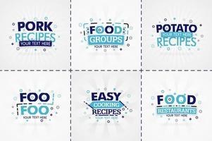 libro de cocina azul para revistas de comida y recetas. títulos de menú de restaurante o insignias para tiendas de alimentos y restaurantes. diseño minimalista para pancartas de recetas.